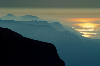 Sunset at the summit of Puig Major. Tramuntana mountains, northern coast, Majorca